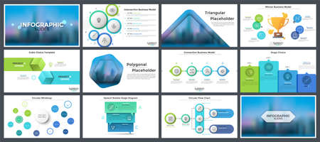 Collection of infographic design templates - flat and realistic flow charts, timelines, mind maps, placeholders. Modern vector illustration for presentation slides, business data visualization. Ilustracja