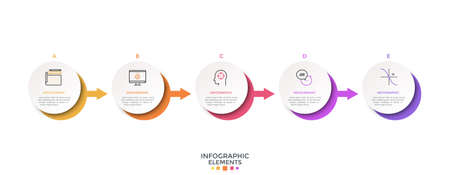 Horizontal timeline with 5 paper white circular elements connected by arrows. Realistic infographic design template. Vector illustration for history of company visualization, progress diagram.