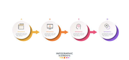 Four paper white round elements placed in horizontal row and connected by arrows. Creative infographic design layout. Vector illustration for visualization of business process with 4 successive steps. Ilustracja