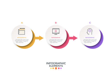 Horizontal timeline with 3 paper white circular elements connected by arrows. Realistic infographic design template. Vector illustration for history of company visualization, progress diagram.