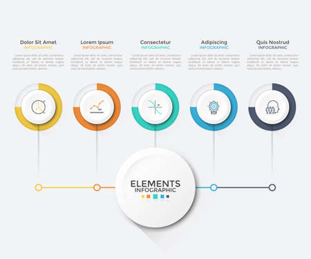 Modern chart with 5 round paper white elements connected to main circle. Clean infographic design template. Vector illustration for business scheme, visualization of startup project features. Ilustracja
