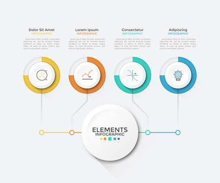 Modern chart with 4 round paper white elements connected to main circle. Clean infographic design template. Vector illustration for business scheme, visualization of startup project features.