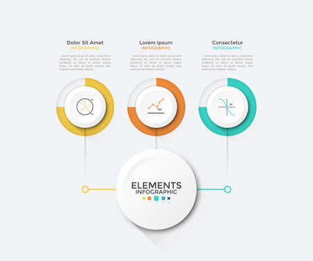 Modern chart with 3 round paper white elements connected to main circle. Clean infographic design template. Vector illustration for business scheme, visualization of startup project features.