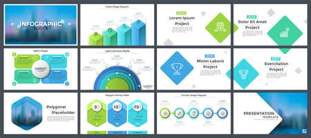 Bundle of presentation templates, page or slide layout design with infographic elements for company annual report, business brochure, information visualization. Creative vector illustration.