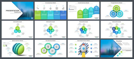 Set of flat and realistic infographic design templates - sphere, gear, spaceship business models, bar charts, cycle diagrams with round elements. Vector illustration for presentation slides, banner.