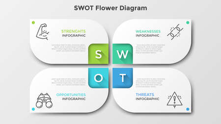 Matrix with 4 paper white petal-like elements. SWOT flower diagram. Creative infographic design template. Clean vector illustration for corporate strategic planning, business analytics presentation. Ilustracja