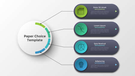 Four rounded elements connected to main paper white circle by lines. Modern infographic design template. Realistic vector illustration for visualization of 4 features or options of business project.
