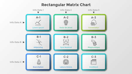 Matrix chart with 9 rectangular paper white cells arranged in rows and columns. Table with nine options to choose. Clean infographic design template. Vector illustration for business presentation.