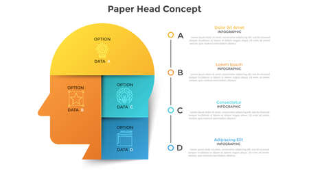 Human head or profile divided into 6 colorful paper pieces. Concept of six features of creative business thinking. Modern infographic design template. Vector illustration for data visualization. Illustration