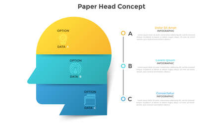 Human head or profile divided into 6 colorful paper pieces. Concept of six features of creative business thinking. Modern infographic design template. Vector illustration for data visualization. Ilustracja