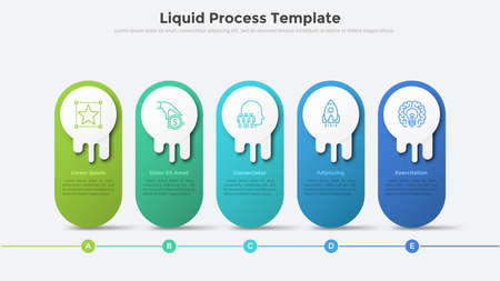 Liquid process chart or timeline with five rounded elements organized in horizontal row. Modern infographic design template. Concept of 5 steps of strategic business plan. Vector illustration.