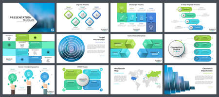 Collection of presentation templates, page or slide layout design with infographic elements for brochure, business information visualization, corporate analytical report. Vector illustration.