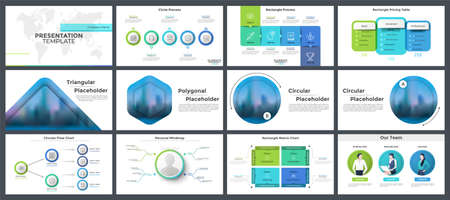 Set of presentation templates, page or slide layout design with infographic elements for business project stages visualization, corporate report. Vector illustration in realistic and flat style.