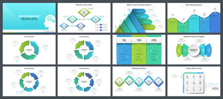 Collection of modern presentation templates, page or slide layout design with infographic elements for corporate analysis, business report, brochure. Vector illustration in realistic and flat style. Ilustracja