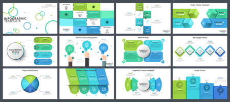 Bundle of presentation templates, page or slide layout design with infographic elements for business project progress visualization, SWOT analysis, company information, report. Vector illustration. Ilustracja