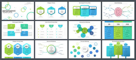 Set of flat and realistic infographic design templates - diagrams, charts, pricing or subscription plans, mind maps and schemes. Vector illustration for business project planning, presentation.