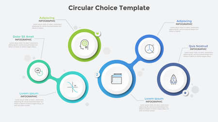 Six separate and connected paper white circles or bubbles. Realistic infographic design template. Creative vector illustration for business presentation, flowchart or diagram, website interface.