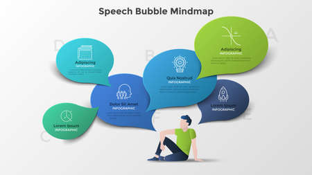 Male character sitting on floor and surrounded by colorful paper speech bubbles. Modern infographic mind map template. Creative vector illustration for business presentation, brochure, banner.