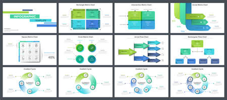 Collection of presentation templates, page or slide layout design with infographic elements for business data visualization, company description, corporate report. Creative vector illustration.