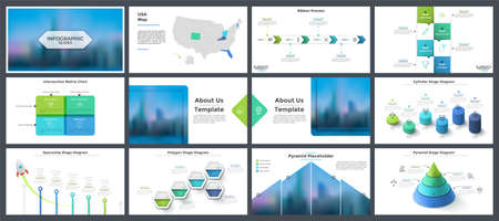 Bundle of presentation templates, page or slide layout design with infographic elements for company report, banner, business analytics, startup project analysis. Creative vector illustration.