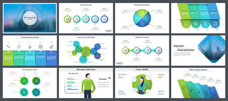Set of creative presentation templates, page or slide layout design with infographic elements for company report, business analytics visualization. Vector illustration in realistic and flat style. Ilustracja