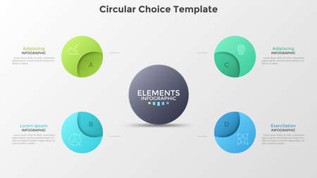 Chart with four circular elements placed around main circle. Concept of 4 steps of business project. Colorful infographic design template. Modern vector illustration for data visualization, brochure. Ilustracja