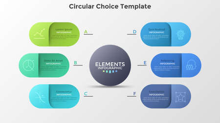 Six colorful rounded elements placed around main circle. Concept of 6 services provided by company. Creative infographic design template. Modern vector illustration for business presentation, report.