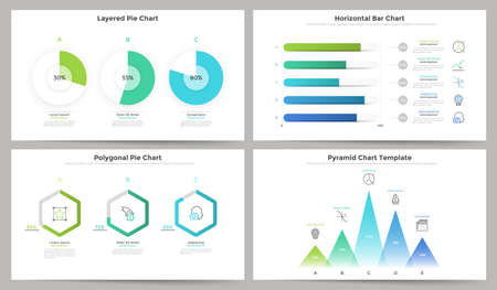 Set of flat colorful round and polygonal pie chart, horizontal progress bar, pyramid diagram elements. Modern infographic design templates. Vector illustration for financial data visualization.