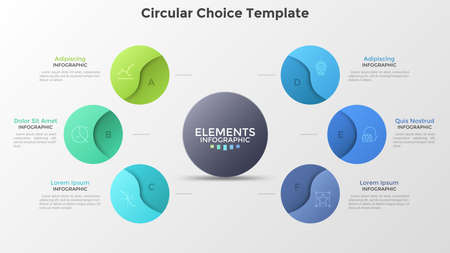 Diagram with six circles surrounding central round element. Concept of 6 features of startup project. Modern infographic design template. Realistic vector illustration for business analytics, report.