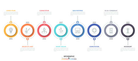 Horizontal timeline with 8 circular elements, thin line icons inside them, year indication and text boxes. Minimal infographic design template. Vector illustration for brochure, banner, annual report.