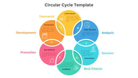 Diagrama de Venn en forma de anillo con seis elementos circulares de colores cruzados. Plantilla de diseño de infografía moderna. Concepto de proceso empresarial cíclico de 6 pasos. Ilustración de vector plano para presentación.