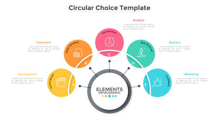 Five multicolored circles connected with main round element in center, 5 features of business process concept. Minimalist infographic design template. Vector illustration for presentation, website.