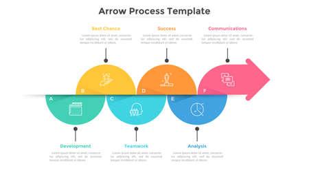 Horizontales pfeilartiges Diagramm bestand aus bunten halbkreisförmigen Elementen. Flache Infografik-Design-Vorlage. Konzept der 6 Schritte des Entwicklungsprozesses des Unternehmens. Vektorillustration für Fortschrittsbalken.