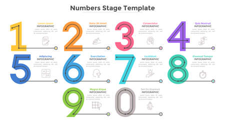 Colorful numbers, figures or numerical symbols and place for text or description. Modern infographic design template. Flat vector illustration for business options visualization, website menu.