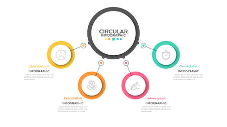 Four multicolored circles connected with main round element in center,4 features of business process concept. Minimalist infographic design template. Vector illustration for presentation, website.