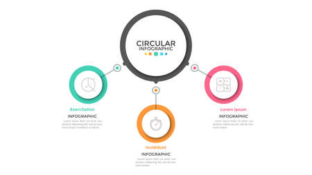 Three multicolored circles connected with main round element in center, 3 features of business process concept. Minimalist infographic design template. Vector illustration for presentation, website.