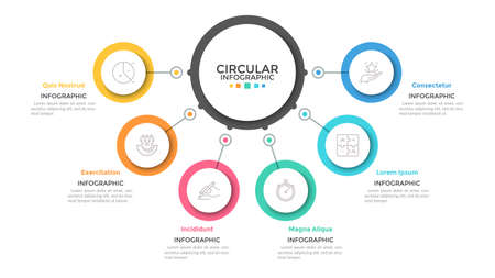 Six multicolored circles connected with main round element in center, 6 features of business process concept. Minimalist infographic design template. Vector illustration for presentation, website.
