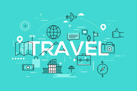 Modern infographic banner with elements in thin line style. Travel and adventure tourism industry, touristic services, navigation tools, leisure activities and budget trips. Vector illustration.