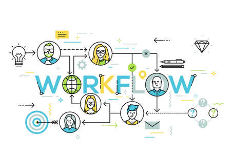 Infographic banner with elements in thin line style. Workflow chart, structural organization of company, business networking concept. Vector illustration for presentation, header, website, report.