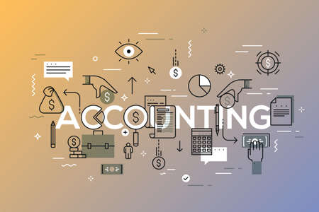 Accounting word surrounded by dollar coins and bills, briefcase, calculator, paper documents. Modern infographic banner with elements in thin line style. Vector illustration for web advertisement.