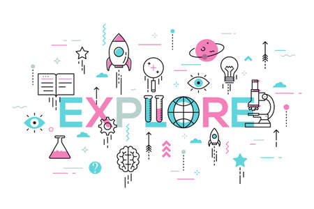 Explore word surrounded by scientific laboratory equipment, spaceship, lightbulb and arrows flying up. Modern infographic banner with elements in thin line style. Vector illustration for advertising.