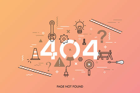 Creative infographic banner with elements in thin line style. Concept of website under construction, webpage maintenance, error 404, page not found message, technical problem. Vector illustration. Illustration