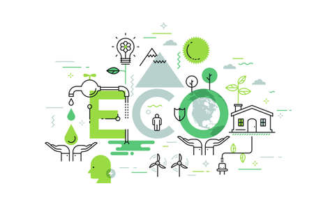 Creative infographic banner with elements in thin line style. Environmental protection, efficient consumption and home green technology concept. Vector illustration for presentation, brochure, header.