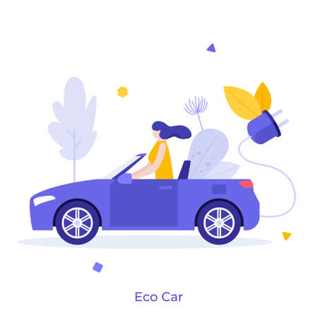 Woman driving electric car. Female in automobile with plug and rechargable battery. Concept of eco-friendly automotive technology, modern environmentally friendly transport. Flat vector illustration. Иллюстрация