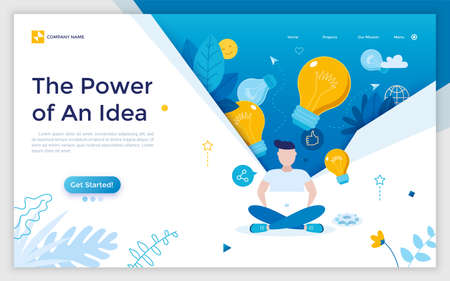 Landing page with man sitting cross-legged, working on laptop computer and light bulbs. Concept of power of creative or innovative idea. Modern flat vector illustration for web page, website. Çizim