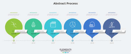 Horizontal timeline with 6 round pointer-like elements. Concept of six milestones of company's development history. Abstract infographic design template. Modern vector illustration for presentation.