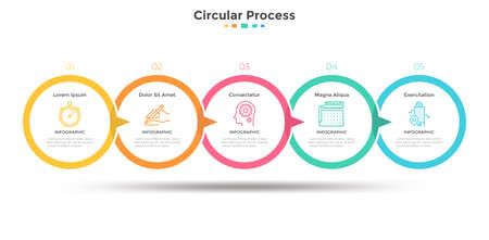 Five paper white overlapped circular elements arranged in horizontal timeline and connected by arrows. Concept of 5-stepped marketing strategy. Simple infographic design template. Vector illustration.