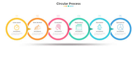 Six paper white overlapped circular elements arranged in horizontal timeline and connected by arrows. Concept of 6-stepped marketing strategy. Simple infographic design template. Vector illustration.