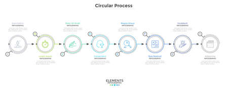 Eight paper white round elements arranged in horizontal row. Concept of 8-stepped business development process. Modern infographic design template. Minimal vector illustration for progress bar. Vetores