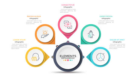 Flower petal diagram with 5 paper white circles connected to main round element. Concept of menu with five options to choose. Modern infographic design template. Vector illustration for presentation. Vecteurs